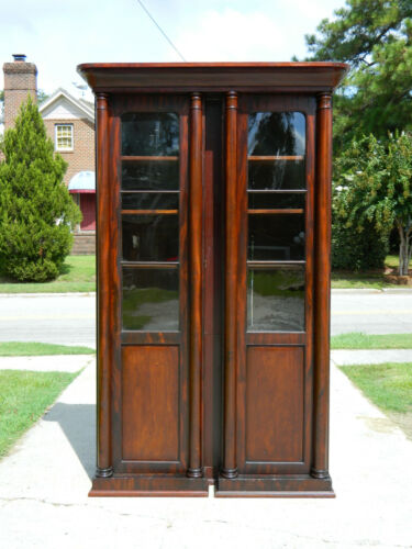 Mahogany Empire Bookcase Display Cabinet