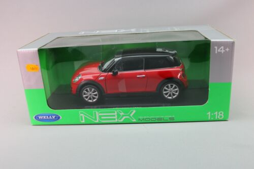 ZE058 WELLY 18050W Voiture 1/18 New Mini cooper Hatch Rouge black red