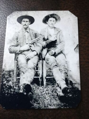 2 Cowboys Old West With Drawn Out Guns  tintype C700RP