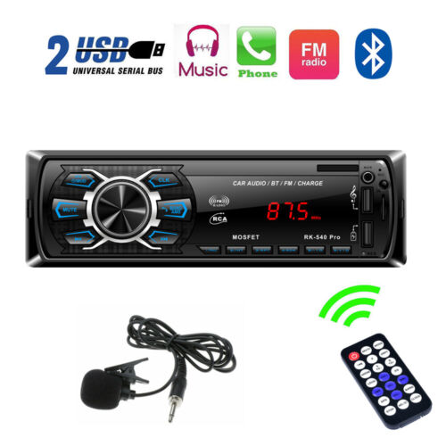 Single DIN Car Stereo Radio Bluetooth MP3 Player USB TF 7 Color Key Light 4 x60W