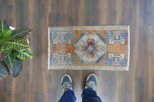 Turkish Small Rug,Vintage Handwoven Wool Rug,Antique Carpet 1'5x2'8 ft