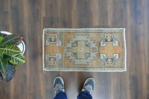 Turkish Small Rug,Vintage Handwoven Wool Rug,Antique Carpet 1'6x2'9 ft