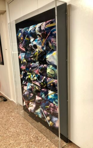 LARGE MIXED MEDIA 3-D PYRAMID DESIGN PAINTING ON BLACK CANVAS IN ACRYLIC CASE
