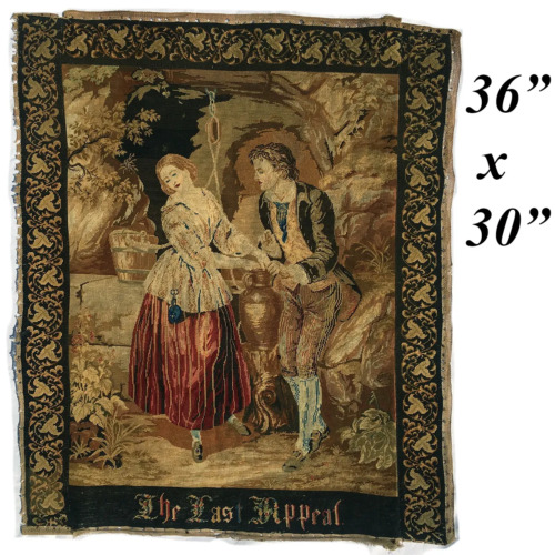 """Huge 36"""" x 30"""" Early 1800s Antique Needlepoint Tapestry, Pettipoint Berlin Work"""