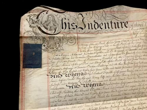 RARE Parchment Document 1759 - with George II of Britain Portrait