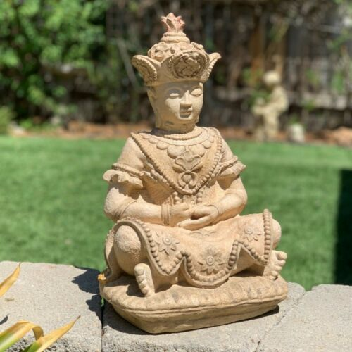 ANTIQUE ORNATE BUDDHA Very Old Solid Stone Garden Statue Outdoor Lawn Yard Art
