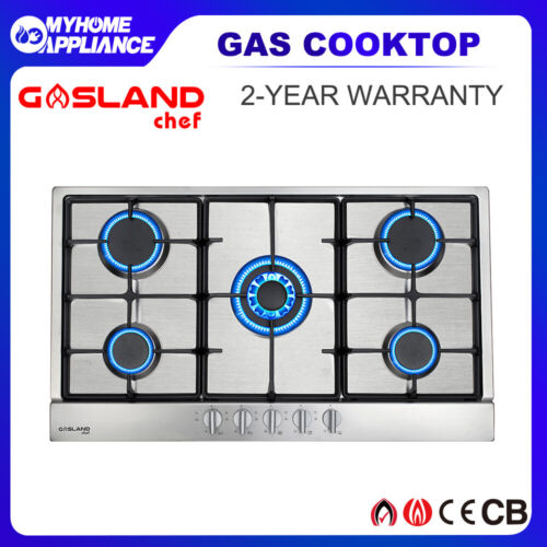 GASLAND chef Gas Cooktop Stainless Steel 5 Burners 90cm Cast Iron NG LPG  Stove <br/> 10% Off with Code at Checkout PADDLE, T&Cs apply