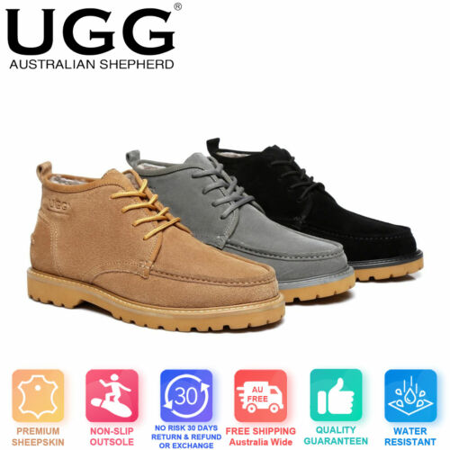 Ever UGG Mini Boots Mens Lace up Shoes Justin - Zipper On The Side, Sheepskin In