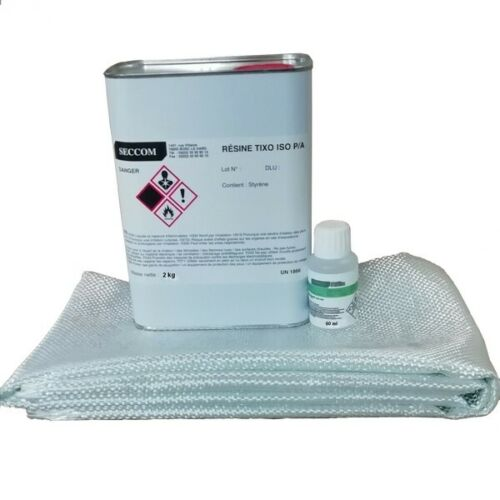 Kit 2 kg Résine polyester ISO + 60ml catalyseur + 2M² roving 300 g/m² + pipette