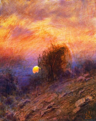 Oil Painting Opal Sky Landscape Western Art American Tonalism Signed MAX COLE