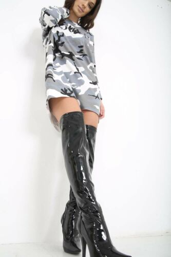 Womens Ladies Mens Thigh High Over The Knee High Heel Stretch Boots Size UK 9-12