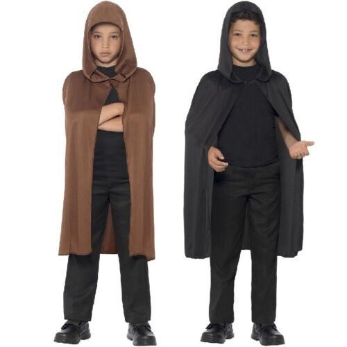 Kids Fancy Dress Cape Childrens Hooded Book Day Cloak Black Or Brown New