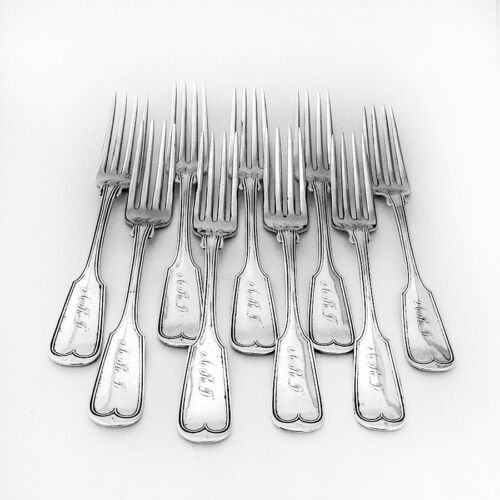 Fiddle Thread 9 Dinner Forks Set Theodore Evans Coin Silver Mono