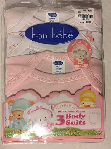 NEW BON BEBE PINK SOLID & PRINTS SIZE 3-6 MONTHS 3 PACK OF 100% COTTON BODYSUITS