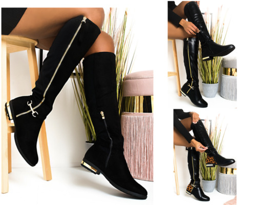WOMENS LADIES BUCKLE HIGH THIGH STRETCH OVER THE KNEE LOW FLAT HEEL BOOTS SIZE