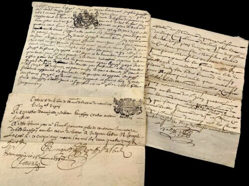 1600s Three Old Stamped Historical Manuscripts
