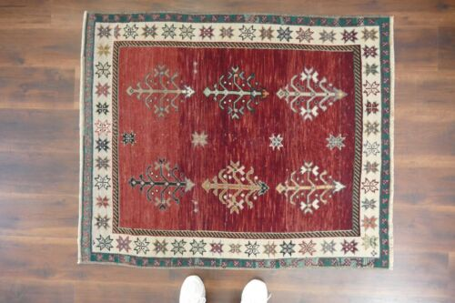 Vintage Turkish Rug Handwoven  Wool Antique Carpet,Small Area Rug 3'6x4'3 ft