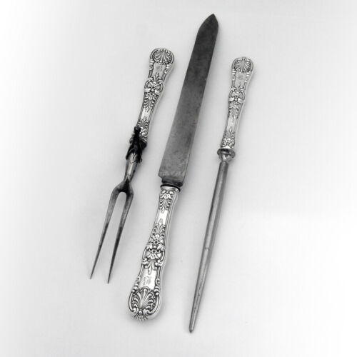 Tiffany Co English King 3 Piece Large Carving Set Sterling 1885 Mono