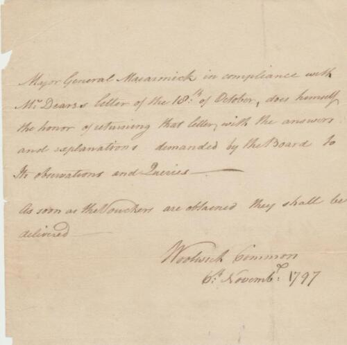 Nova Scotia Lt Gov William Macarmick signed letter 1797 re answering questions
