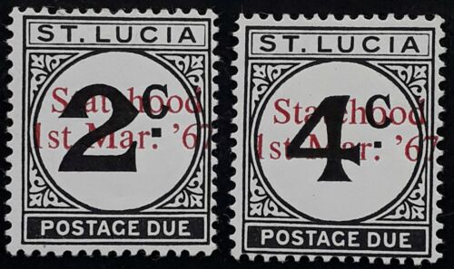 1967 St Lucia pair of Postage Due stamps Statehood '67 O/Ps MUH