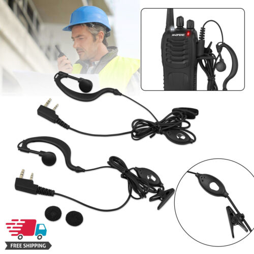 2X Walkie Talkie Headset Earpiece For BF-888s 2-way Radio Mic Ear Clip Security