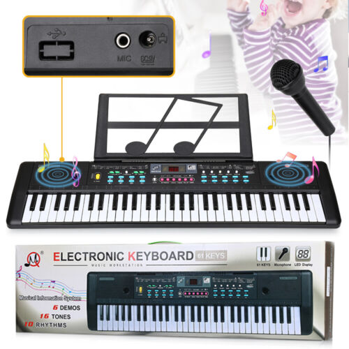 61 Keys Electronic Piano Keyboard LED Electric Holder Music Stand Beginner & Mic