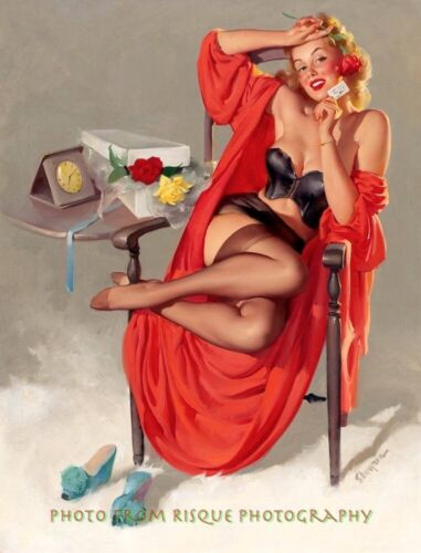 """Beautiful Woman in Nylons Gets Flowers 8.5x11"""" Photo Print Gil Elvgren Pinup Art"""