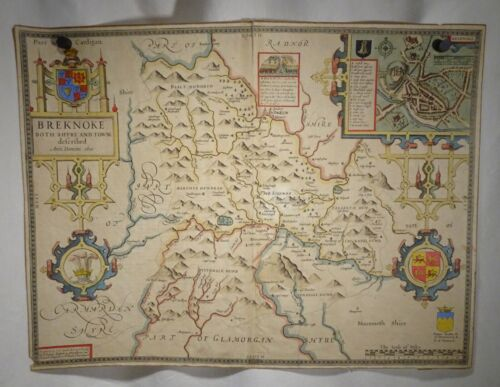 Breknoke Wales 1610 John Speed, Antique Hand Colored Map - 57865