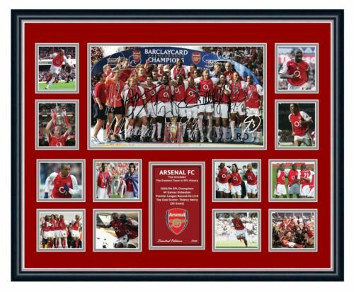 ARSENAL FC THE INVINCIBLES 2004 THIERRY HENRY BERGKAMP SIGNED FRAMED MEMORABILIA