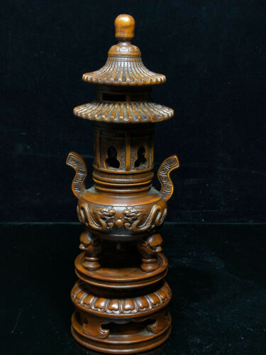 """10"""" Temple Chinese boxwood wood carved Dragon Tower Incense burner Censer Statue"""
