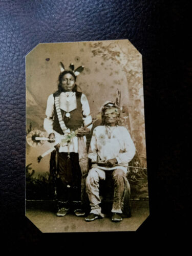 Native American Sioux Chiefs Running Bear and Crow Man tintype C566RP