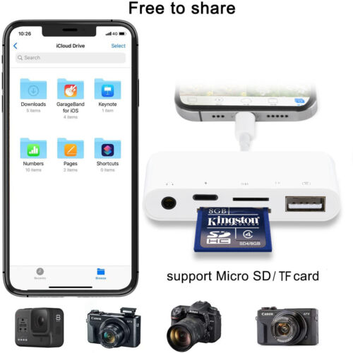 Camera Connection Kits Adapter Aux Charging Port for iPhone 11 X iPad 7 6 5 Air