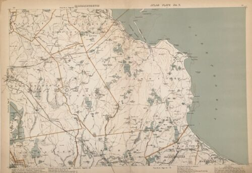 Original 1907 Map,Plymouth,Kingston,Carver,Wareham,Middleborough,Mass,MA Old