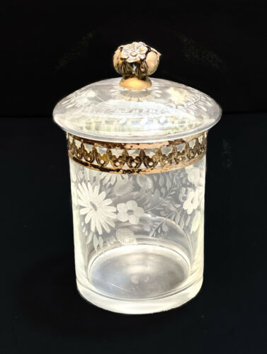 Vitali Bruno Italian 800 Silver Mounted Cut Glass Etched Round Lidded Jar c1960