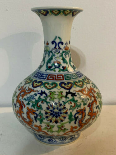 Chinese Porcelain Wu Tsai Vase w/ Flower & Beast Decoration Qianlong Mark