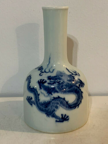 Chinese Blue & White Porcelain Mallet Vase 5 Claw Dragon Decoration Kangxi Mark