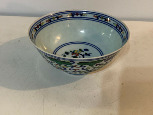 Chinese Doucai Porcelain Bowl Flowers Green Leaves Decoration Yongzheng Mark