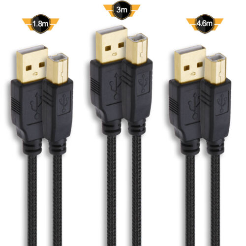 Braided GoldPlated USB 2.0 Scanner Printer Cable Type A to B Male 2M 3M 5M lot