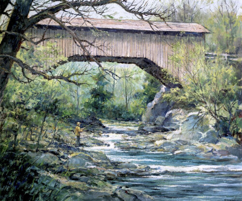 Fishing below a Covered Bridge by Eric Sloane  Giclee Canvas Print Repro