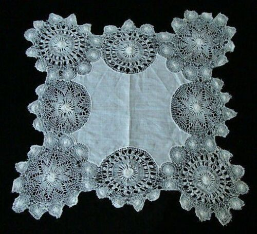 EXQUISITE Antique Lace Handkerchief  HAND MADE NANDUTI Lace Wedding Bridal