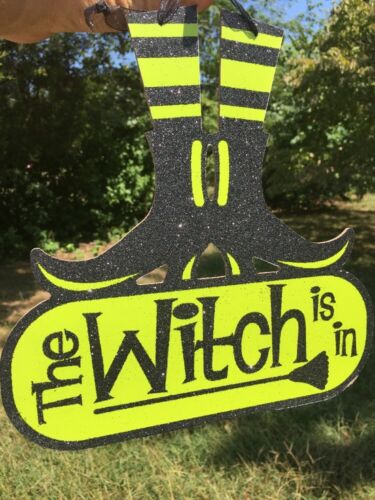 Primitive HALLOWEEN The WITCH IS IN Shoes Boots Wall Door Decor FOLK ART Sign