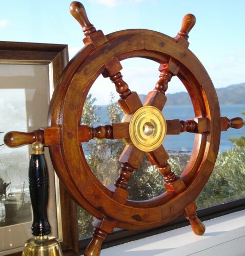 "18"" Durable Wooden Brass Ship Wheel For Nautical Pirate Themed Home Decor Brown"