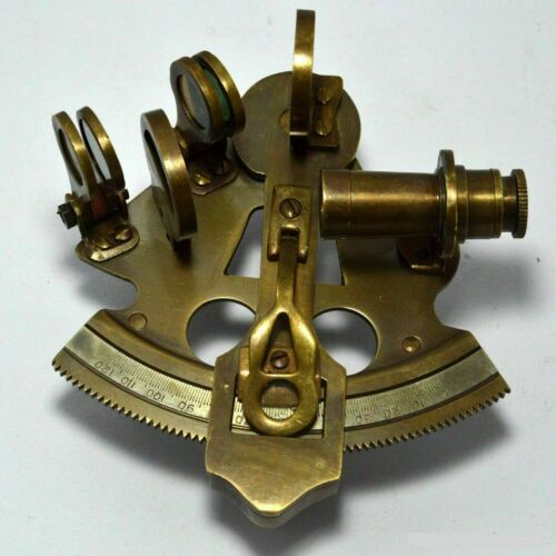 """Sextant Maritime Solid Brass Nautical Sextant Astrolabe Antique Instrument 4""""."""
