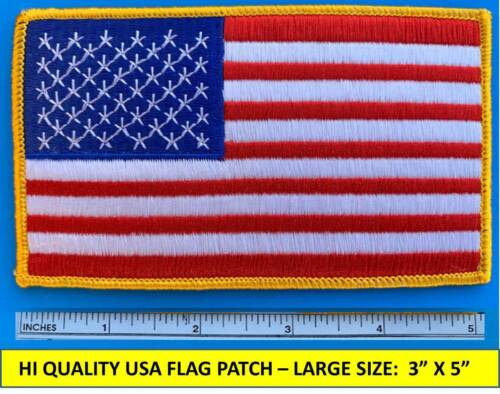 "LARGE USA AMERICAN FLAG EMBROIDERED PATCH SEW-ON GOLD BORDER JUMBO (3""X5"")Patches - 113337"