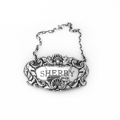 English Repousse Sherry Bottle Tag Label Sterling Silver 1978