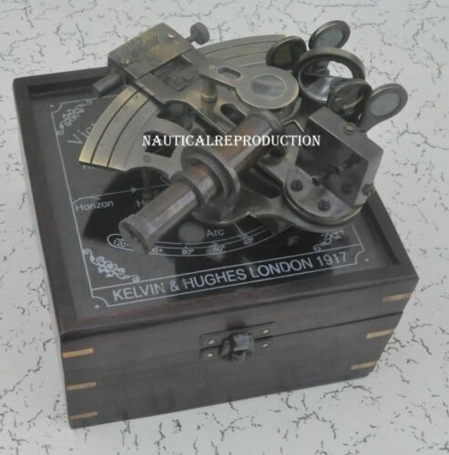 """Antique Brass Sextant 5"""" with Rosewood Box - Brass Sextant handmade style solid"""