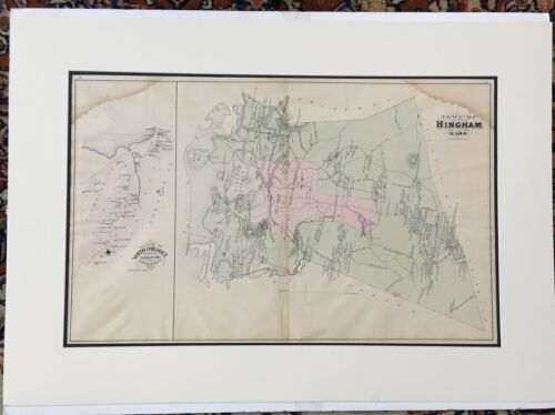 Original 1879 Hingham Map,Cohasset Massachusetts MA Mass Old Vintage Atlas