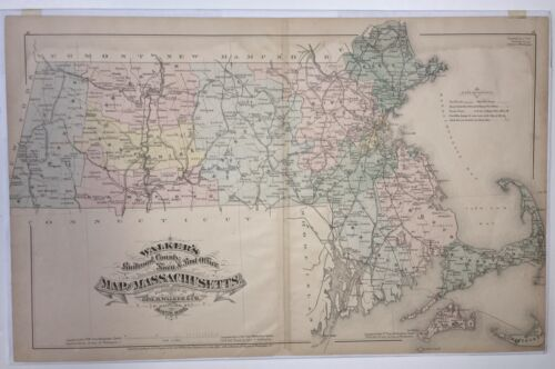 Original 1879 Map Mass State,Railroads County Post Office MA Antique Old Vintage