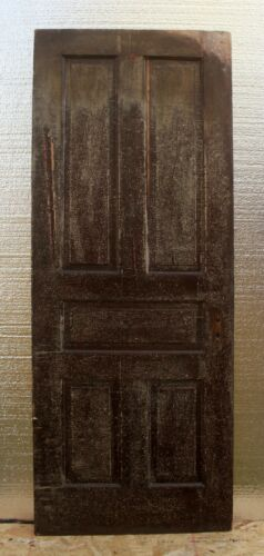 "30""x79"" Antique Vintage Victorian Old SOLID Wood Wooden Interior Door 5 Panels"