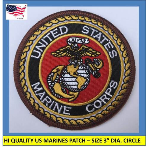 """US MARINE CORPS USMC EMBROIDERED PATCH IRON-ON SEW-ON 3"""" ROUND - HIGH QUALITYPatches - 113337"""